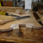 Blocks are lightly glued to the Mold, the first step in making the Garland ...
