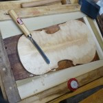 Working on profiling a Violin Top for final arching ...